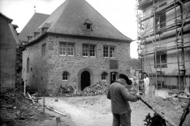 Synagogue Worms, northern view, shortly before finishing reconstruction (1961)